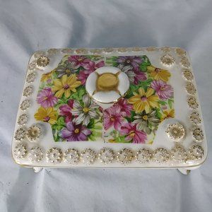 Vintage Floral Bone China Rectangle Trinket Box